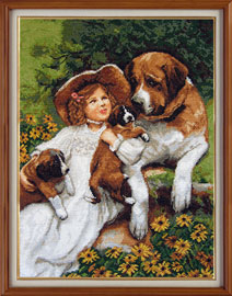 X-1132, Friends The cross stitch kit contains: DMC cotton thread, 16 count cotton Aida Zweigart, needle, color chart and instructions.