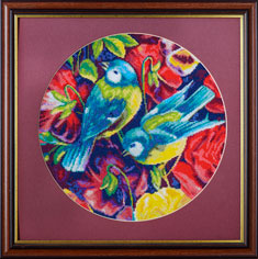 X-1137, Birds and flowers 1 The cross stitch kit contains: DMC cotton thread, 16 count cotton Aida Zweigart, needle, color chart and instructions. Size (23.5 x 36 cm)