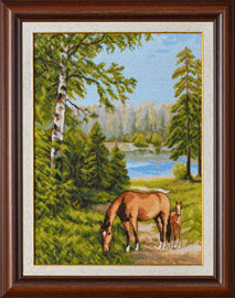 X-1146, Horses in the forestThe cross stitch kit contains: DMC cotton thread, 16 count cotton Aida Zweigart, needle, color chart and instructions. Size