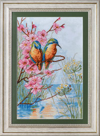 X-1148, Bird couple The cross stitch kit contains: DMC cotton thread, 16 count cotton Aida Zweigart, needle, color chart and instructions. Size (23.5 x 36 cm)