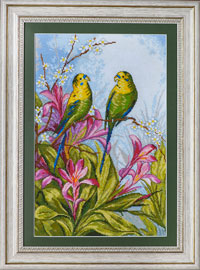 X-1149, Parrots  The cross stitch kit contains: DMC cotton thread, 16 count cotton Aida Zweigart, needle, color chart and instructions. Size (23.5 x 36 cm)