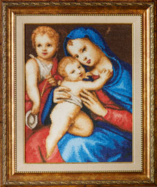Madonna and Child with the Infant St John the Baptist The cross stitch kit contains: DMC cotton thread, 16 count cotton Aida Zweigart, needle, color chart and instructions. Size (23 x 31cm) Price: 30,60 €