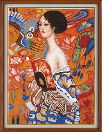 "X-134, ""Lady with the fan"" - Gustav Klimt The cross stitch kit contains: DMC cotton thread, 16 count cotton Aida Zweigart, needle, color chart and instructions. Size (26 х 34 cm)"