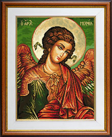 X-711, Archangel Michael The cross stitch kit contains: DMC cotton thread, 16 count cotton Aida Zweigart, needle, color chart and instructions. Size (23 x 31 cm)