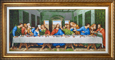 X-717, The last supper The cross stitch kit contains: DMC cotton thread, 18 count cotton Aida Zweigart, needle, color chart and instructions. Size (86х37cm)