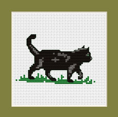"Free cross stitch pattern""Black kitten"""