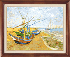 X-117, Boats, V. van Gogh The cross stitch kit contains: DMC cotton thread, 16 count cotton Aida Zweigart, needle, color chart and instructions