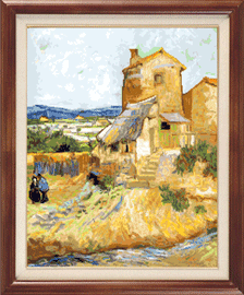 X-120, The old mill, V. van Gogh The cross stitch kit contains: DMC cotton thread, 16 count cotton Aida Zweigart, needle, color chart and instructions