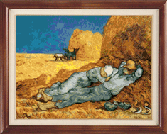 X-116, Siesta, V. van Gogh The cross stitch kit contains: DMC cotton thread, 16 count cotton Aida Zweigart, needle, color chart and instructions