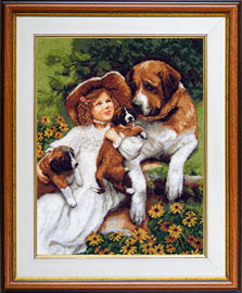 The cross stitch kit contains: DMC cotton thread, 16 count cotton Aida Zweigart, needle, color chart and instructions. Size (23.5 x 36 cm)