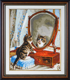 X-1142, Kitty and the miror The cross stitch kit contains: DMC cotton thread, 16 count cotton Aida Zweigart, needle, color chart and instructions. Size (28 х 34 cm)