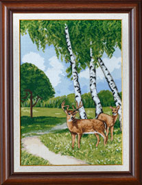 X-1147, Birches and reindeer cross stitch kit contains: DMC cotton thread, 16 count cotton Aida Zweigart, needle, color chart and instructions. Size