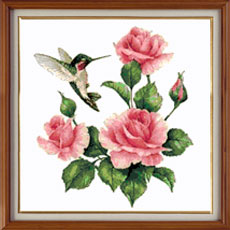 X-1150, Birds and lilac  The cross stitch kit contains: DMC cotton thread, 16 count cotton Aida Zweigart, needle, color chart and instructions. Size (23.5 x 36 cm)